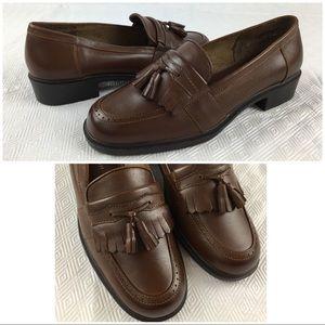 Laura Scott Brown Leather Tassel Loafers